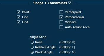 Pool Studio Snaps and Constraints Menu