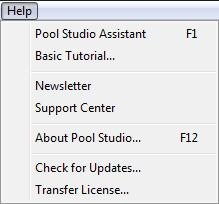 Pool Studio Help Menu Transfer License