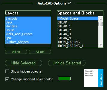 VizTerra AutoCAD Options