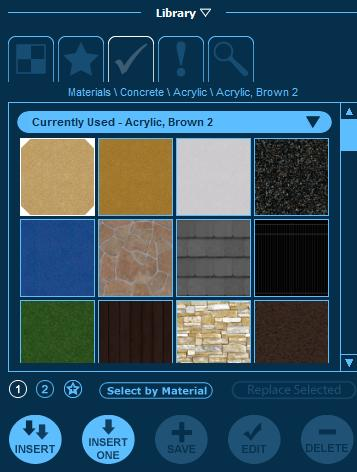 Pool Studio Customize Materials Currently Used Tab